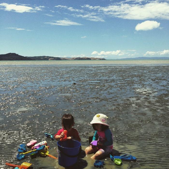 ニュージーランド潮干狩と子ども